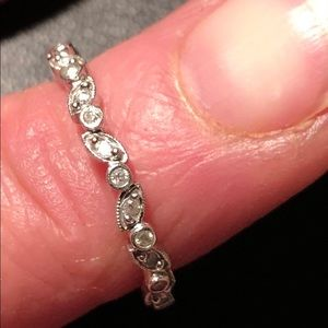 Jewelry - White gold pave diamond marquise & dot eternity tg